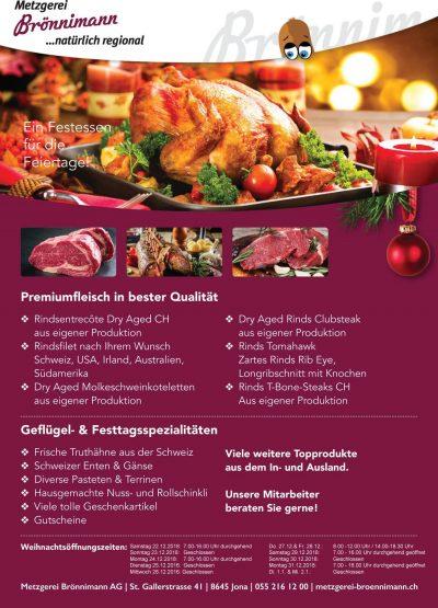 Weihnachtsessen, Metzgerei Brönnimann