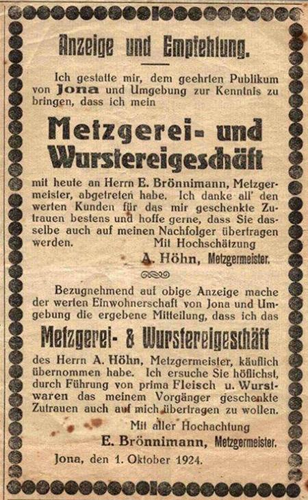 Metzgerei Brönnimann Anzeige von 1924